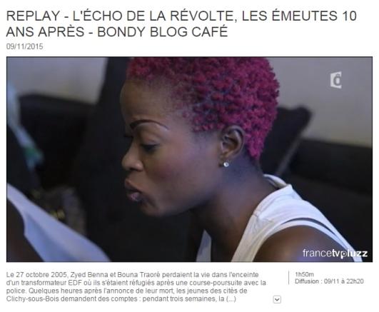 Extrait de l'émission Bondy Blog diffusé le 9 novembre 2015 - 22h20 sur France Ô